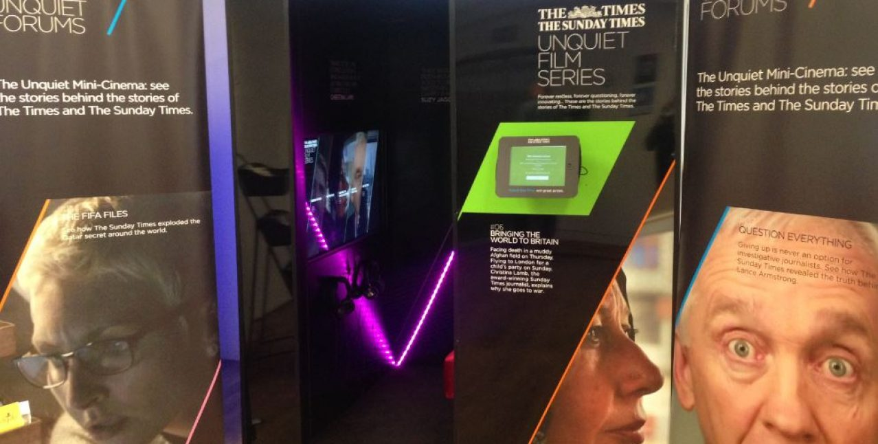 Times Unquiet's Film booth, a temporary fixture at Melbourne House